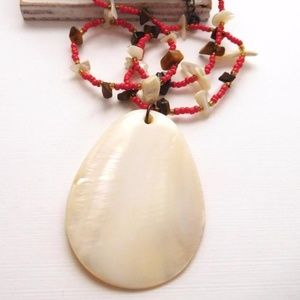 Red Glass Bead Tigers Eye Mother Of Pearl Necklace